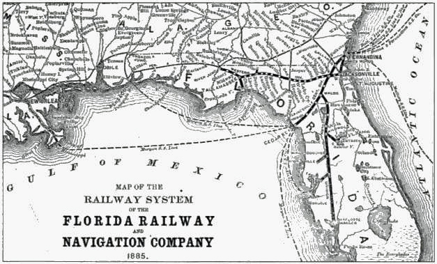 Map of Sir Edward Reed's railroad empire in 1885